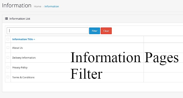 Simple admin information pages filter