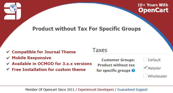 Product without tax for specific groups ( Free Installation)