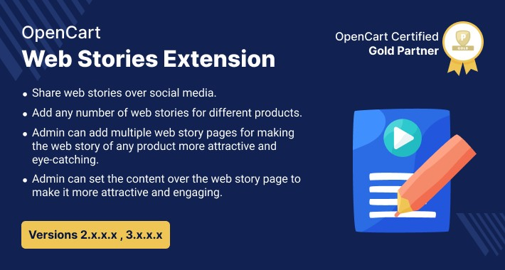 Opencart Web Stories Extension