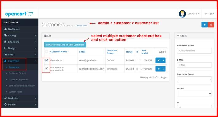 Reward Points Send To Bulk Customers