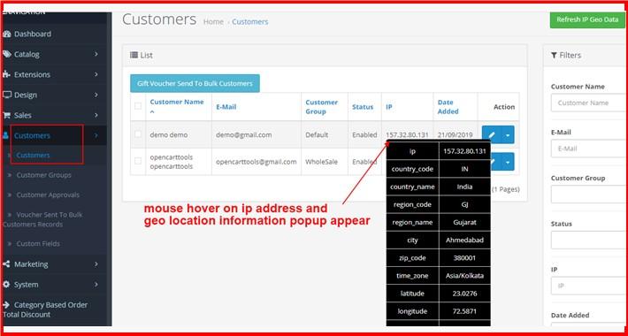 Admin Customers List IP Address With Geolocation