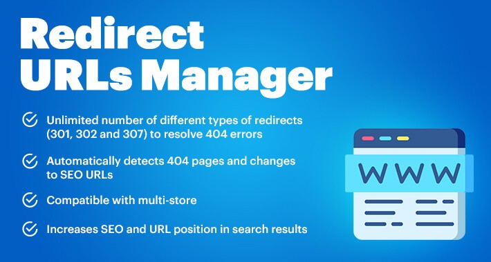 Redirect URLs Manager - 301, 302, 307 and 404 SEO optimizer