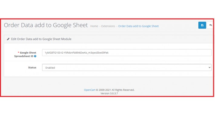 Pull Opencart Order Data into Google Sheets