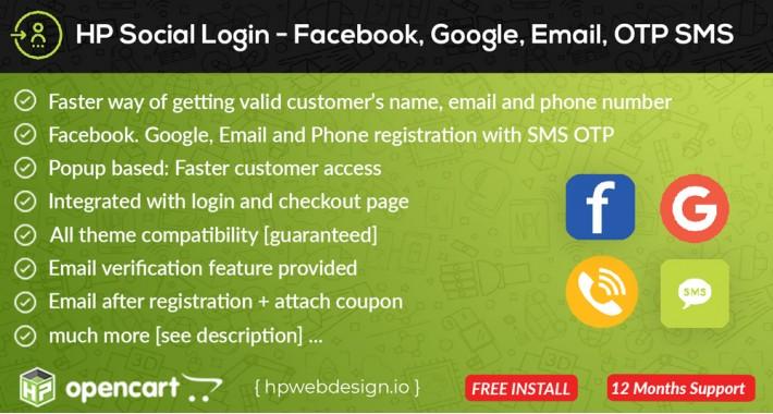 Social Login Facebook Google Phone Email [Advanced]