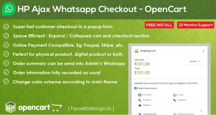 Ajax Whatsapp Checkout OpenCart [Advanced]