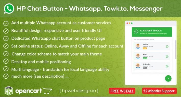 Whatsapp Chat Button - Multi Customer Services [Advanced]