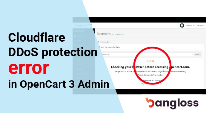 Cloudflare DDoS protection error in OpenCart 3 Admin