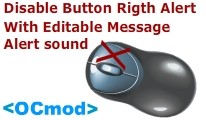 Disable Button Rigth Alert - With Editable Message Alert sound