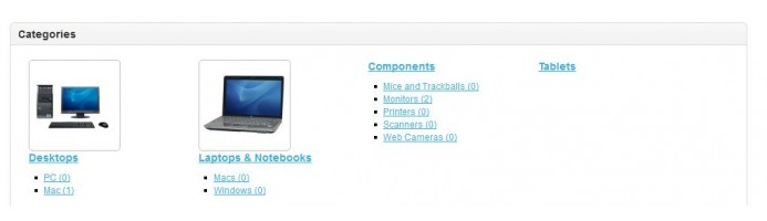 Categories in Home Page