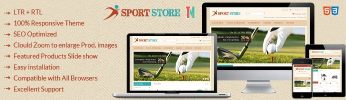 Sports Store OpenCart Template - OPC050109