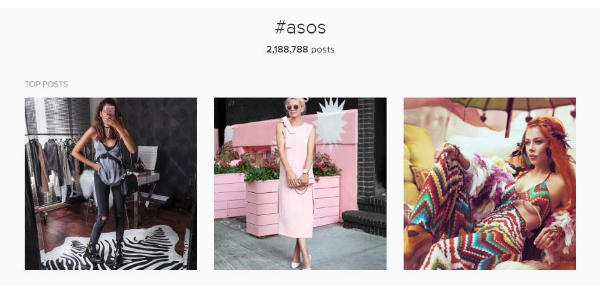 ASOS Instagram hashtag example