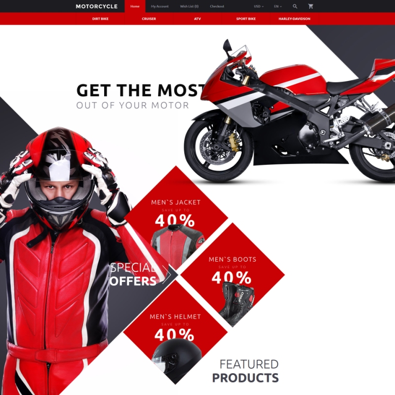 Red Motorcycle OpenCart Theme