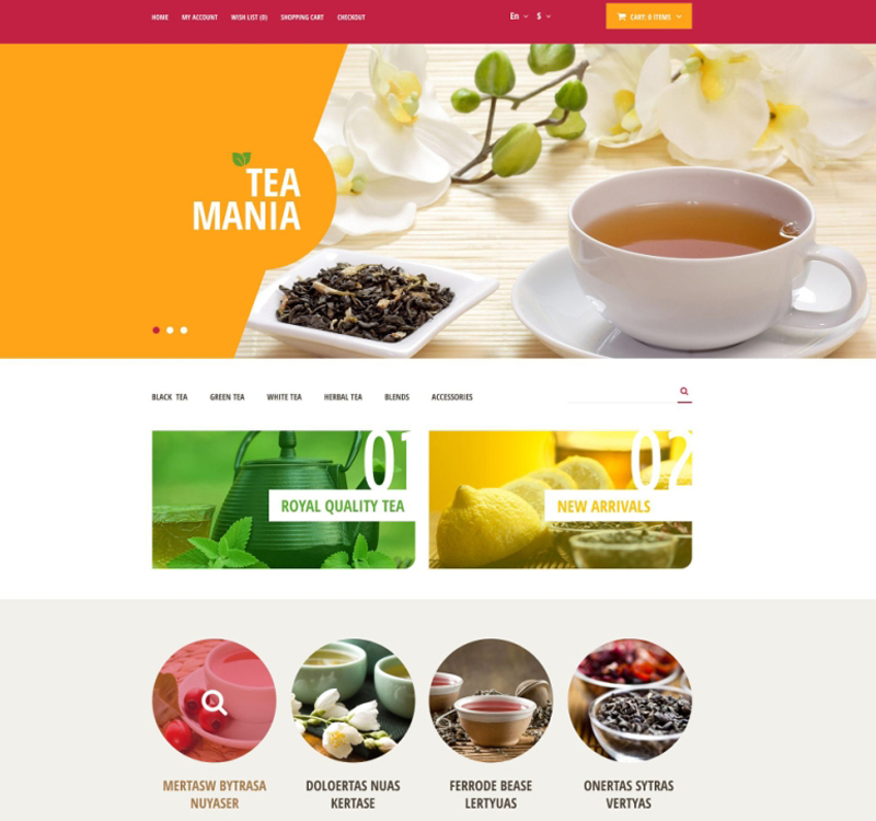 Orange Tea Mania OpenCart Theme
