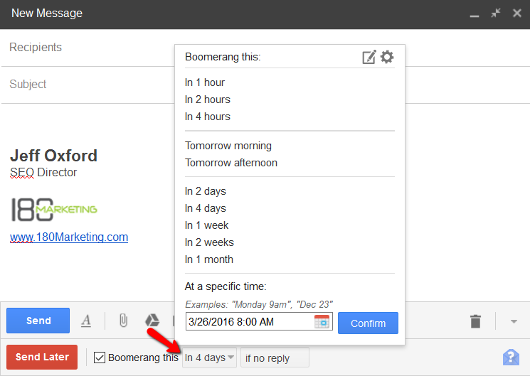 Boomerang for Gmail outreach tool