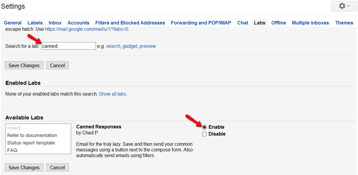 How to set up canned response in Gmail
