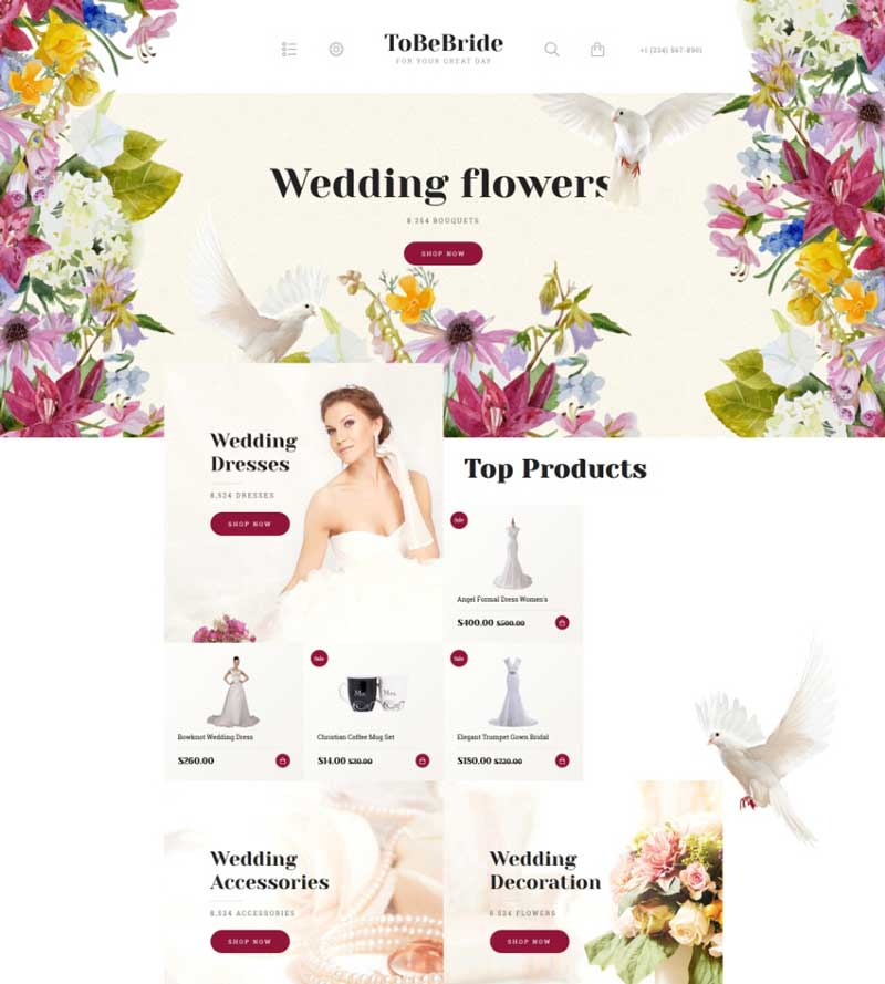 Wedding & Flowers OpenCart Template