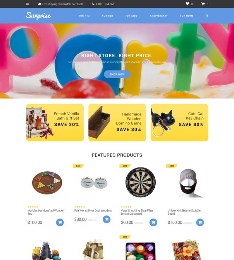 Gifts & Trinkets OpenCart Template