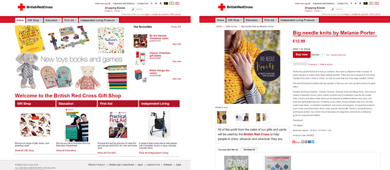 British Red Cross Gift Shop Example