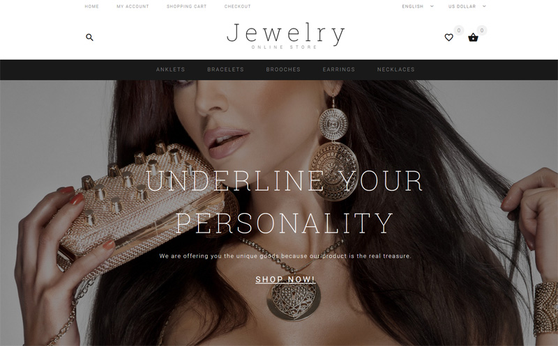 Jewelry Showcase OpenCart Template