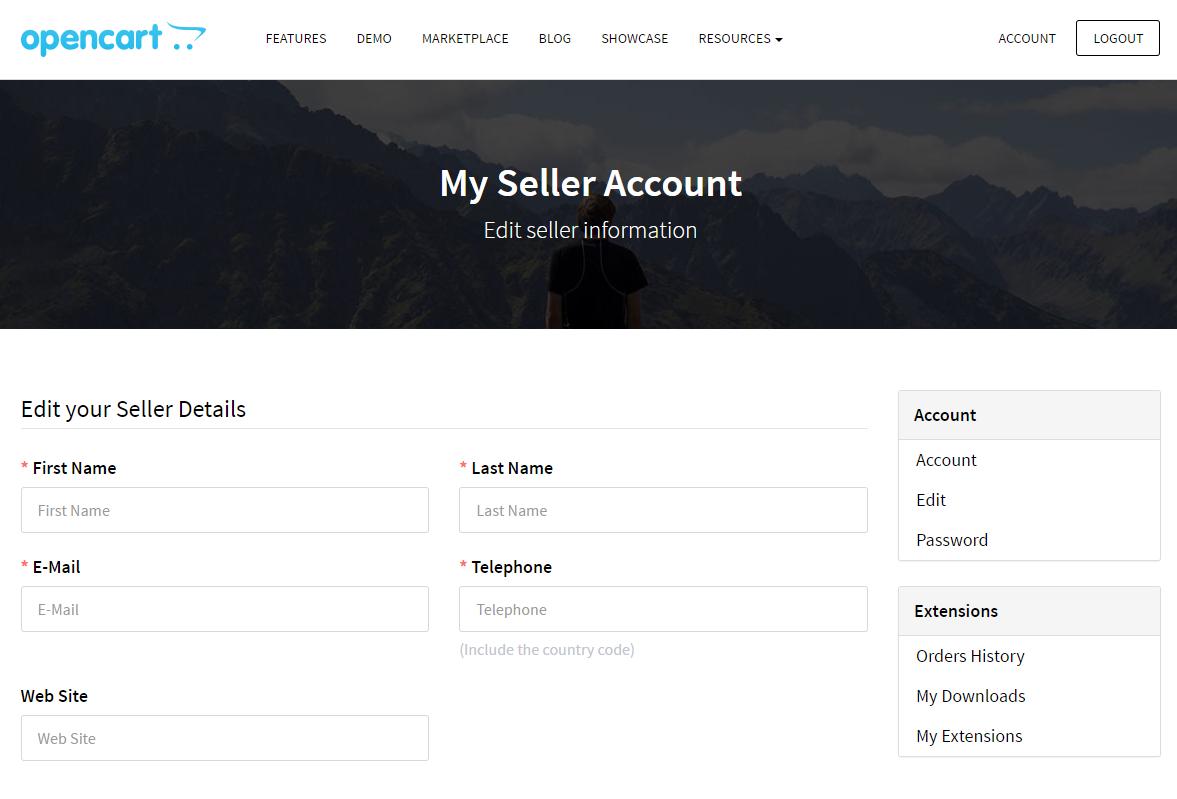 OpenCart - My Seller account
