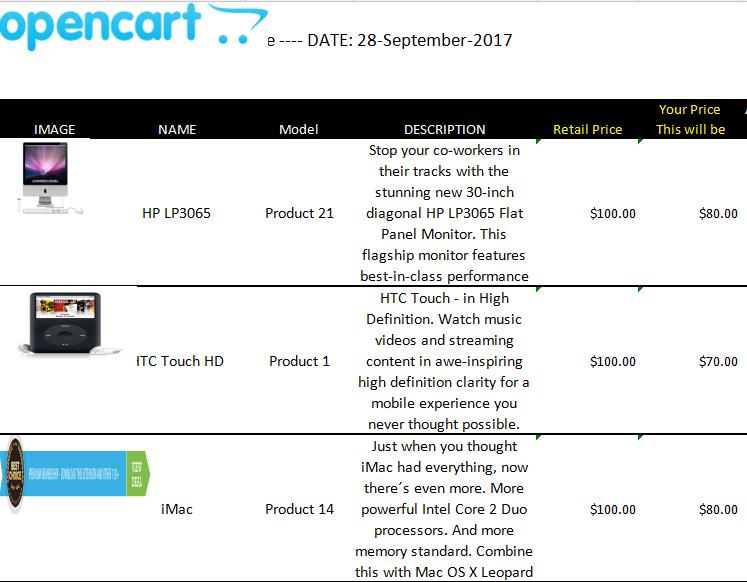 opencart customer price list downloader