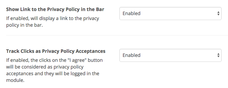 you can place it at different positions and enable or disable the click tracking for privacy policy acceptances