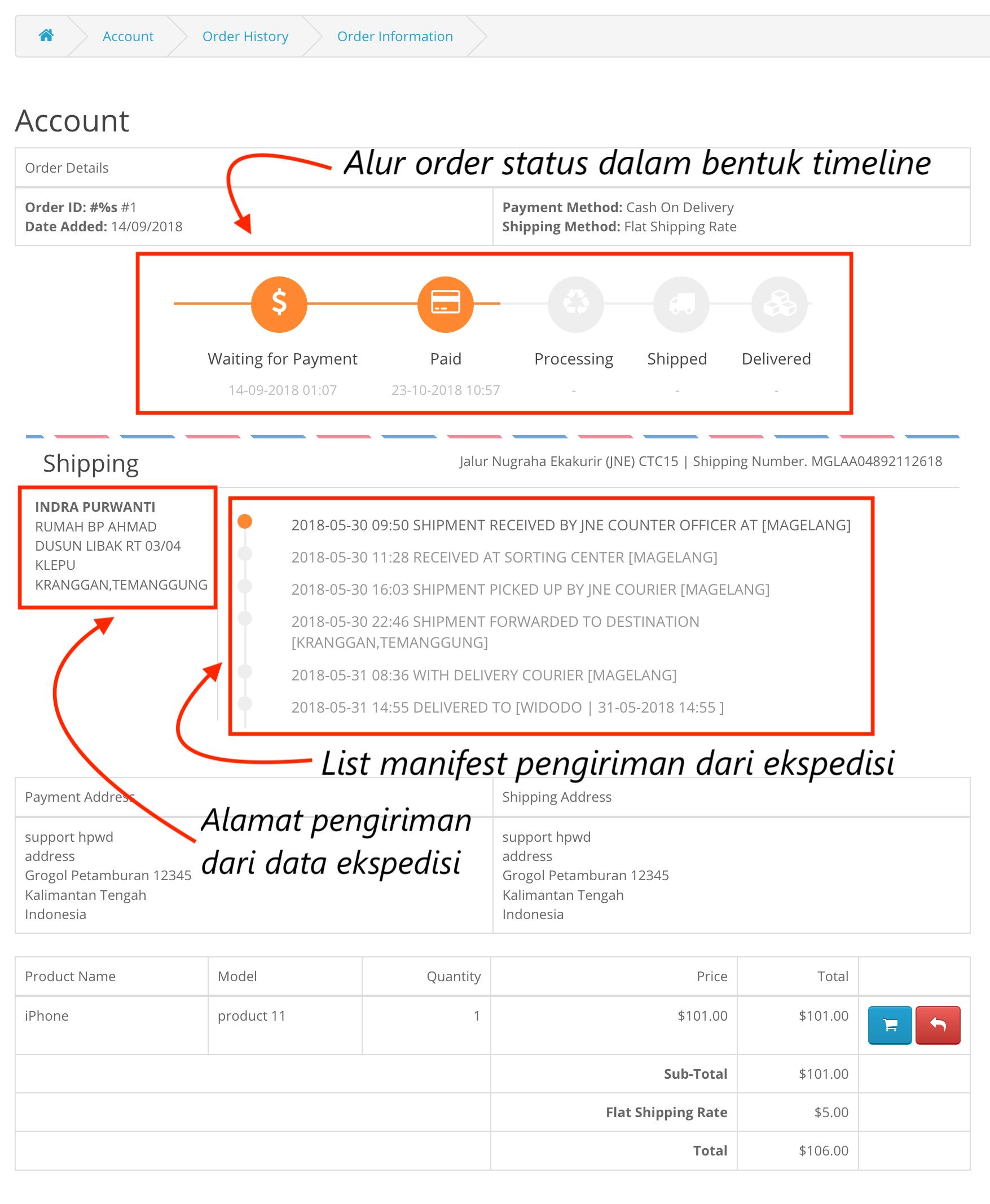 Opencart Cek Resi Order Tracking Enhanced